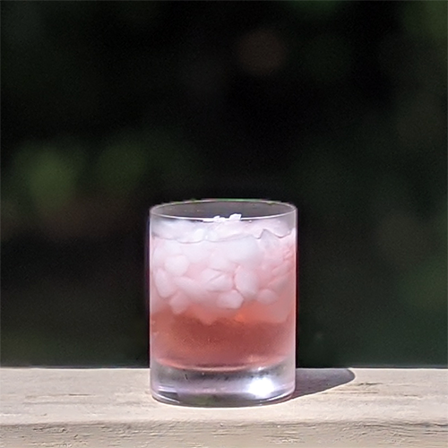 a glass of iced pink lemonade